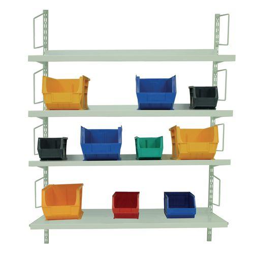 Wall mounted twinslot shelving kits