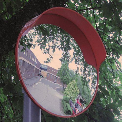 Premium outdoor traffic mirror with hood