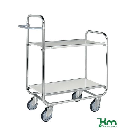 Konga order picking trolleys with adjustable shelves and open ends