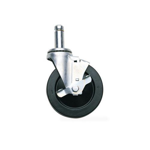 Black rubber tyred castor