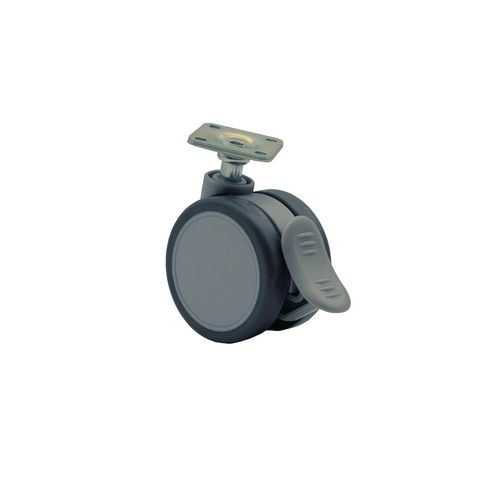Tente Twin thermoplastic rubber tyred swivel wheels, plate fixing - braked