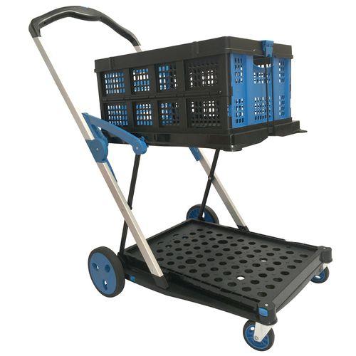 Large twin shelf folding trolley with folding basket