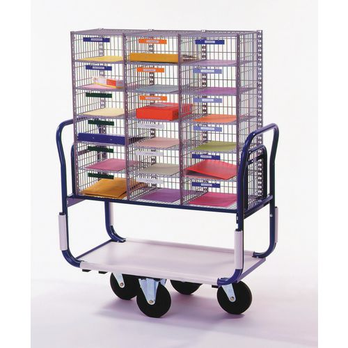 Large mail distribution trolley with sorting units