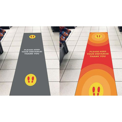 Social distancing message logo mats