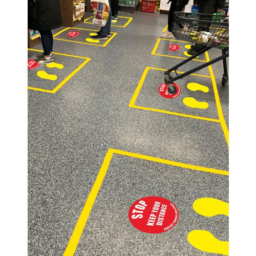 Floor space segregating in a shop space adhering to social distancing