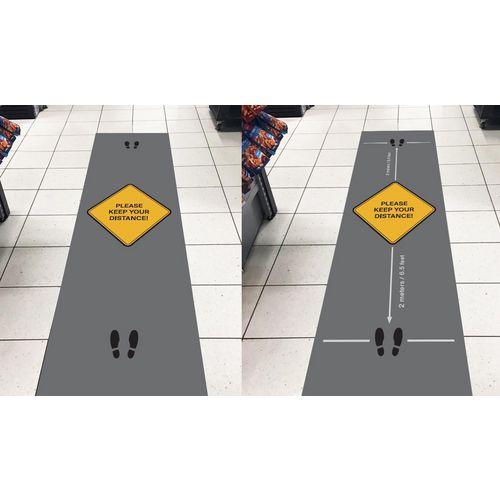 Social distancing message logo mats - Please keep your distance