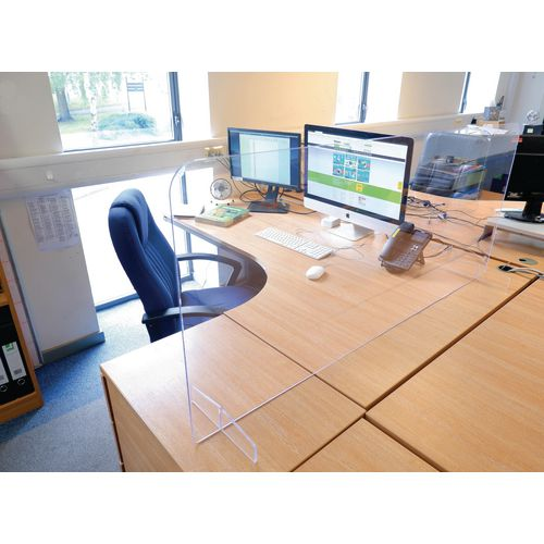 Free standing desk protection screen with feet