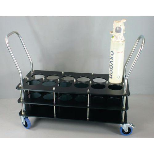 Oxygen cylinder trolleys for 140mm dia. bottles