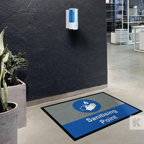 Sanitiser station logo mats