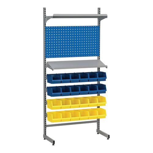 Bin rack with shelves