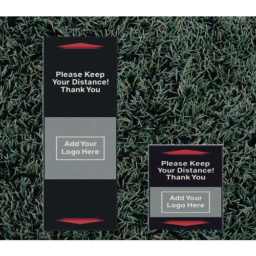 Personalised outdoor social distancing message mats