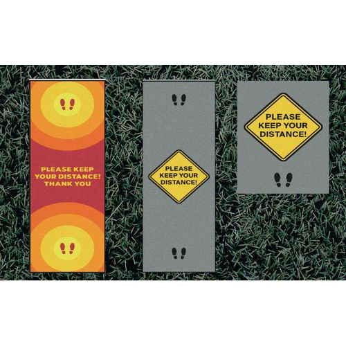 Outdoor social distancing message mats