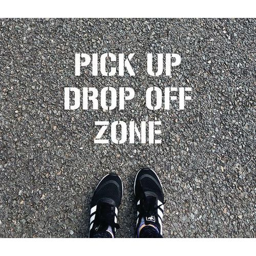 School social distancing stencil kit `DROP OFF ZONE`