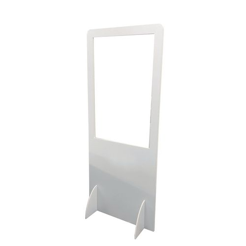 Floor standing protection screen with clear window