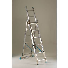 Heavy duty three section transformable aluminium ladders