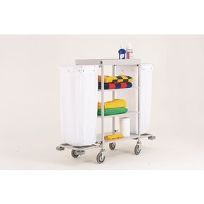 Maid service trolleys with white bags