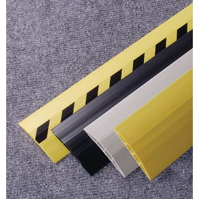 Self-adhesive twin bore PVC cable protectors- Hazzard warning - Choice of two widths