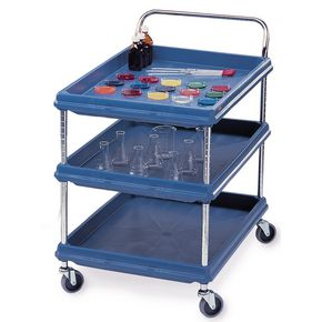 Deep ledge trolleys with 3 blue shelves 984 x 689mm