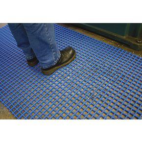 Open grid PVC matting - 5 metre roll - Choice of two widths - Blue
