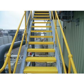 Slip resistant stair treads, with 30mm and 40mm nosings - Yellow - 595 x 195 x 40mm