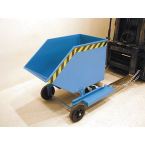 Wheeled sheet metal tipping skips