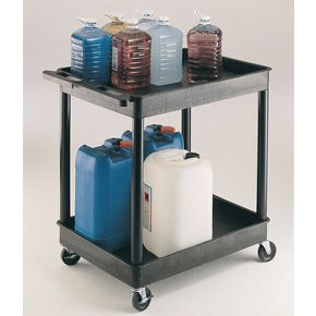 Heavy duty plastic trolleys, capacity 175kg with 2 trays