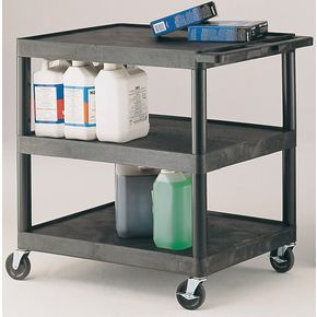 Heavy duty plastic trolleys, capacity 120kg with 3 shelves