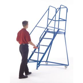 DGUV tested tilt and push mobile steps - Galvanised - Platform height 750mm