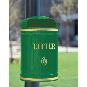 Post / wall hooded litter bins post mounted