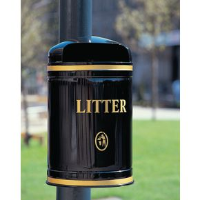 Post / wall mounted hooded litter bins wall mounted