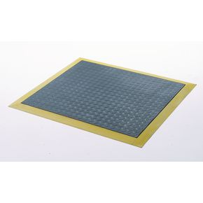 Anti-fatigue rubber chequer plate matting - yellow edged mat