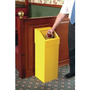 Fire retardant push flap rubbish bins