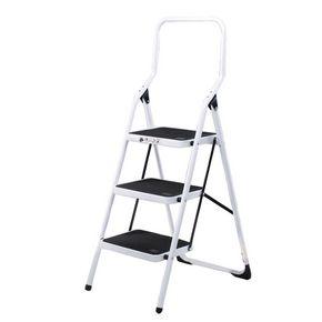 White folding step stools - 3 tread