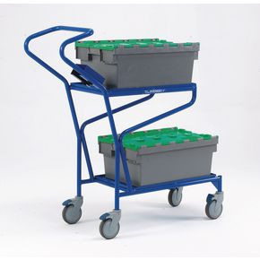 Order picking trolley with solid shelves