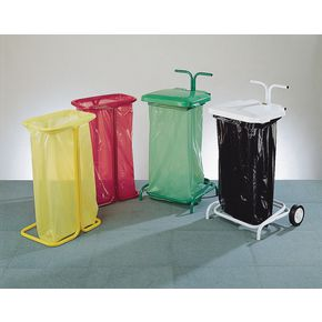 Colour coded sackholders semi-mobile with lid