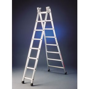 Extra heavy duty two section transformable aluminium ladders
