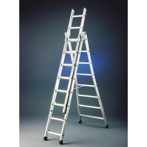 Extra heavy duty three section transformable aluminium ladders