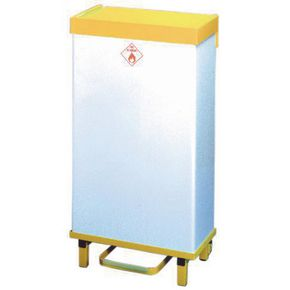 Fire retardant hands free removable body waste bins semi- mobile