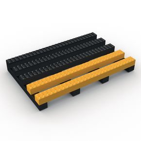 Vynagrip® heavy duty slip resistant PVC matting - Black with Yellow edge, 10m x 600mm roll