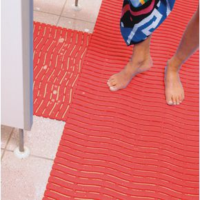 Wet area safety matting - Red - Available as 15m roll, cut length or mat