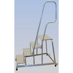 Mobile aluminium machinery steps with handrail