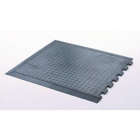 Anti-fatigue chequer plate matting - end section, black