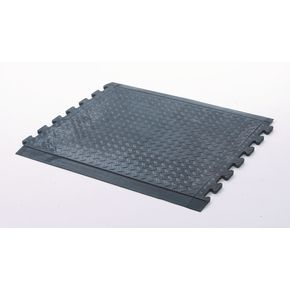 Anti-fatigue rubber chequer plate matting - centre section, black