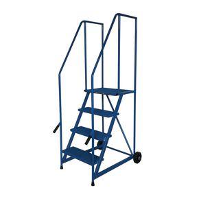 Painted steel tilt and push mobile steps - 3 treads (inc. platform)