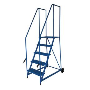 Painted steel tilt and push mobile steps - 5 treads (inc. platform)