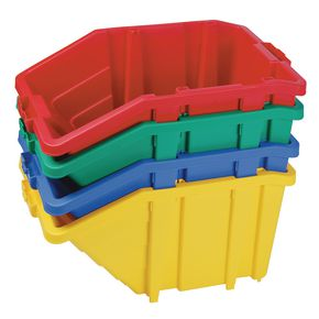 Large storage bins with hinged lids - Sold singly - Choice of four colours