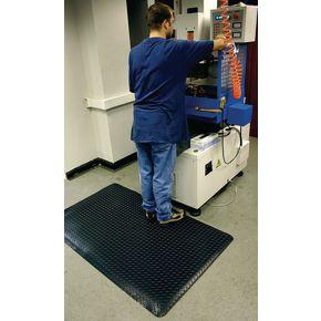 Premium anti-fatigue checker plate matting - All black - Choice of two sizes