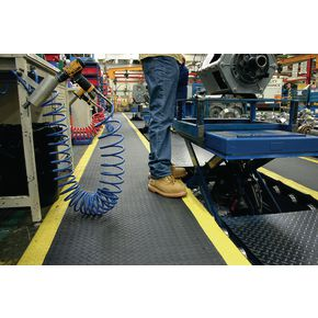 Premium anti-fatigue checker plate matting- Yellow edge - Choice of two sizes