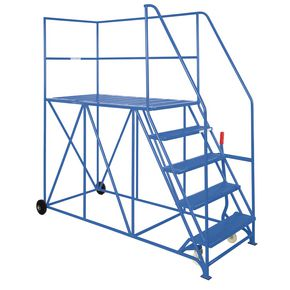 Single sided steel mobile access platforms - Blue, 10 treads
