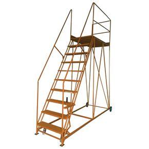 Single sided steel mobile access platforms - Orange, 10 treads